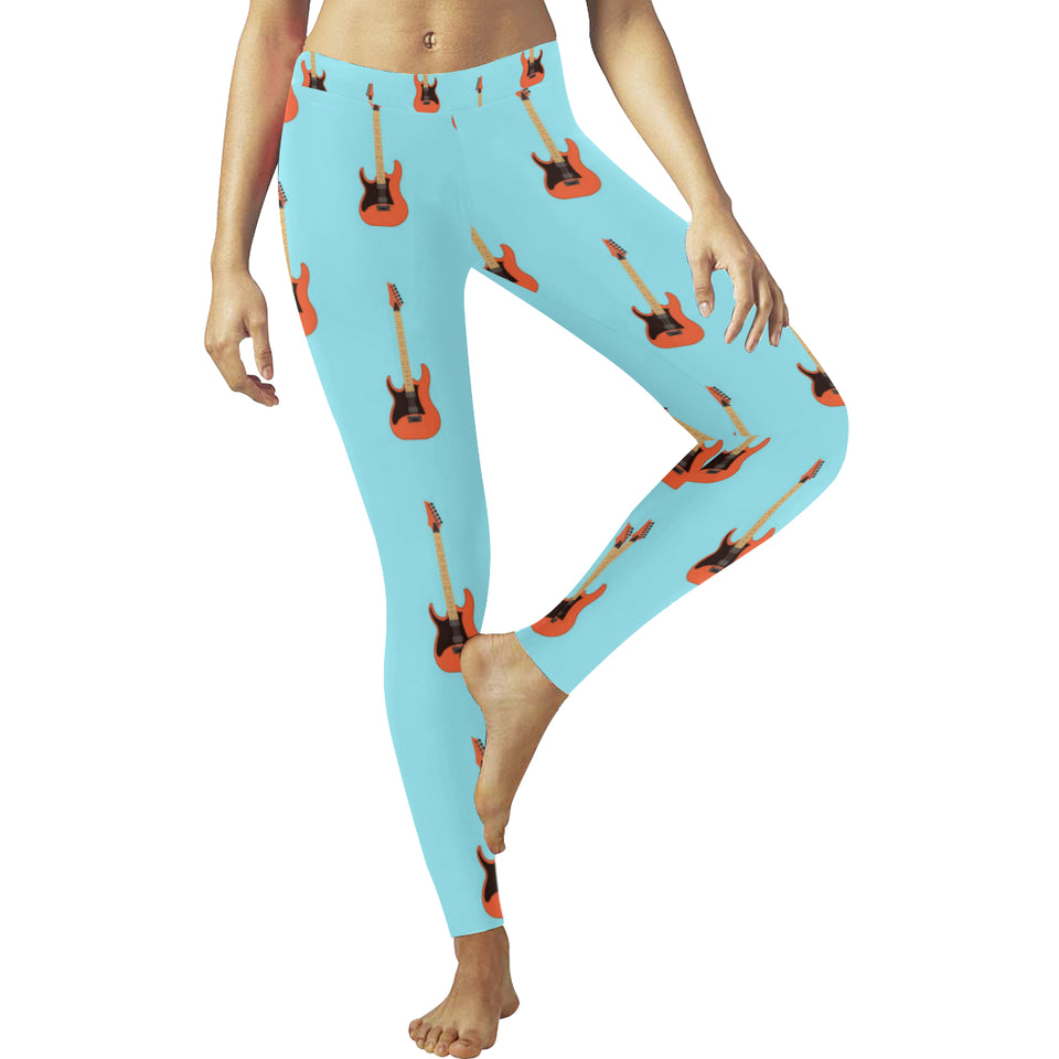 electric guitar pattern light blue background Women's Legging Fulfilled In US