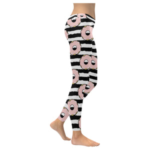 Donuts pink icing striped pattern Women's Legging Fulfilled In US