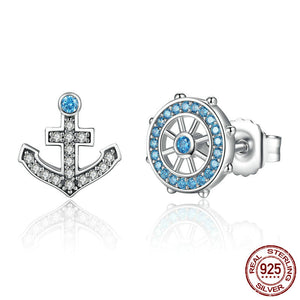 Anchor & Rudder Blue Crystals Stud Earrings Ccnc006 Bt0094