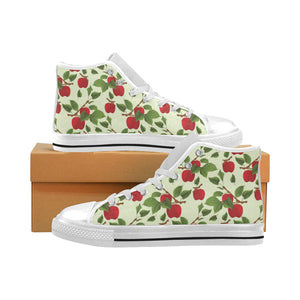 Red apples leaves pattern Men's High Top Canvas Shoes White