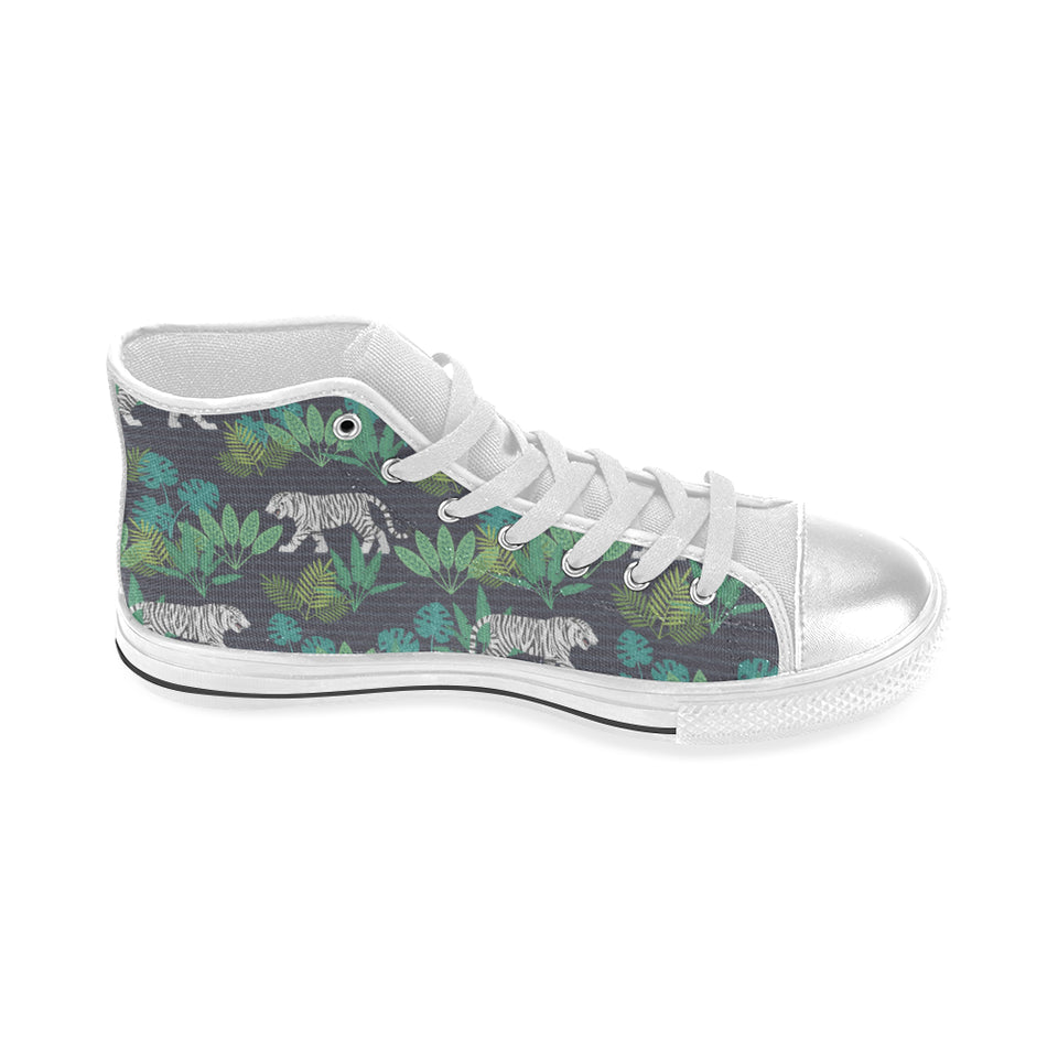 white bengal tigers tropical plant Women's High Top Shoes White