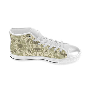 Light Green camouflage pattern Women's High Top Shoes White