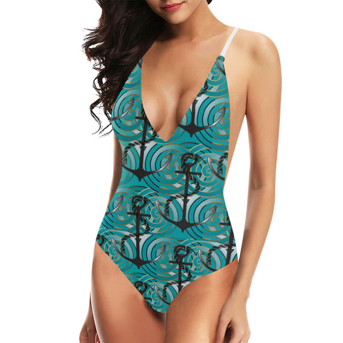 Anchor nautical green background Women's One-Piece Swimsuit