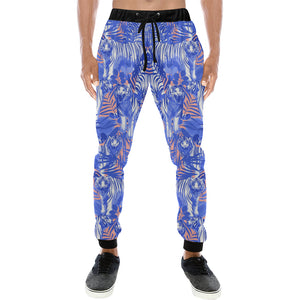 white bengal tigers pattern Unisex Casual Sweatpants