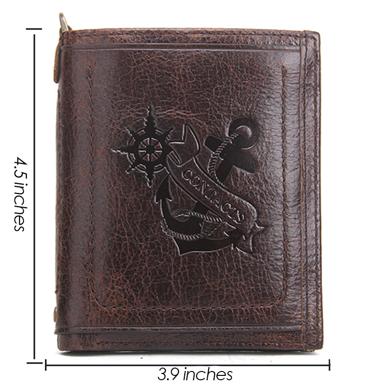 Wallet Casual Anchor Printed Design Genuine Leather Men Wallets With Card Holder and Coin Pocket ccnc006 bt0145