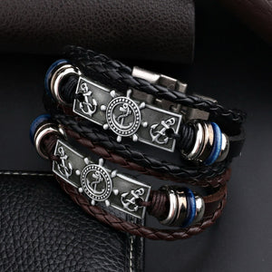Leather Anchor Bracelet For Men Guys Women  Ccnc006 Bt0138