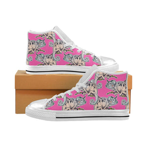 Chameleon lizard pattern pink background Women's High Top Shoes White Made in USA