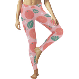Grapefruit leaves flower pink background Women's Legging Fulfilled In US