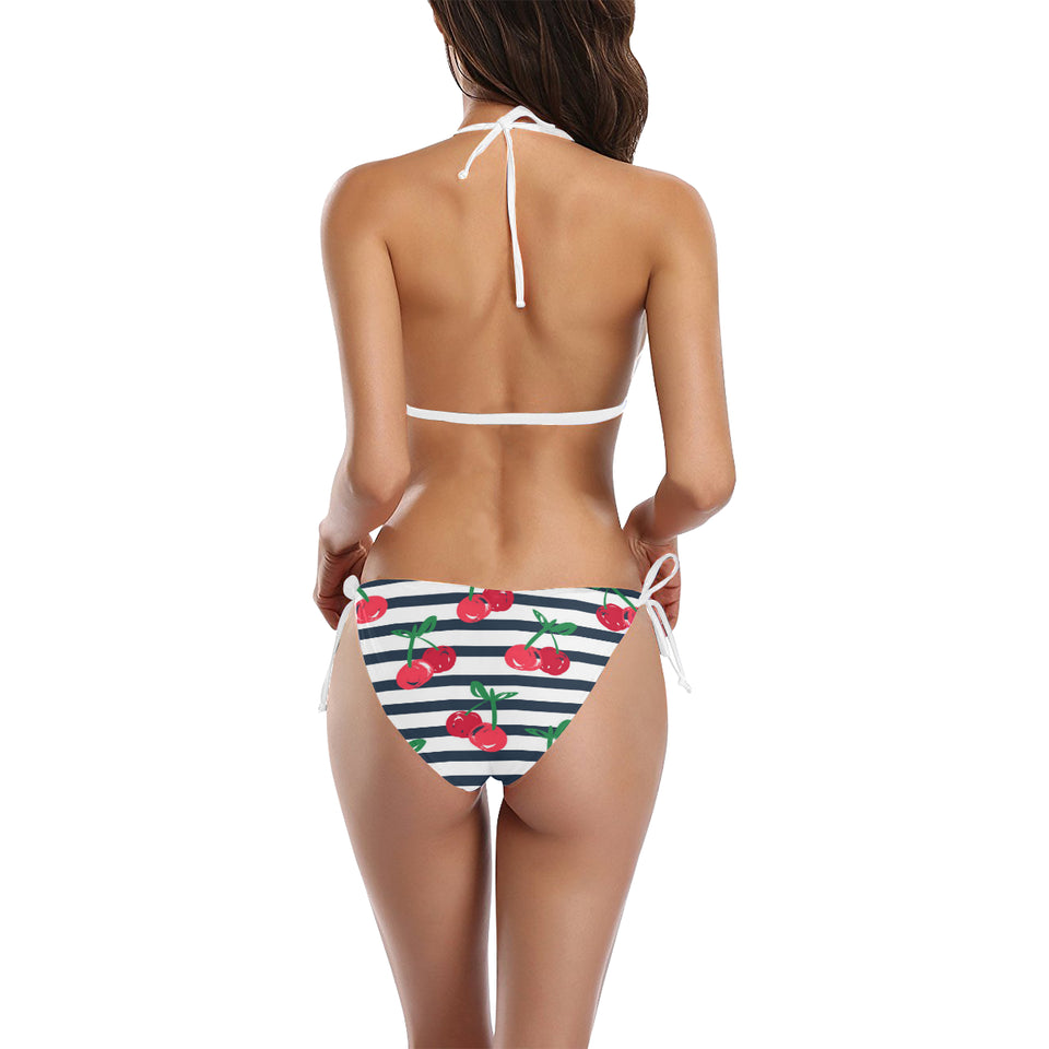 Hand drawn cherry pattern striped background Sexy Bikinis Two-Piece Swimsuits