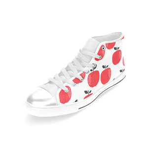 red apples white background Women's High Top Shoes White