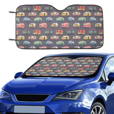 Camper Van Pattern Print Design 02 Car Sun Shade