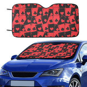 Casino Cards Suits Pattern Print Design 02 Car Sun Shade