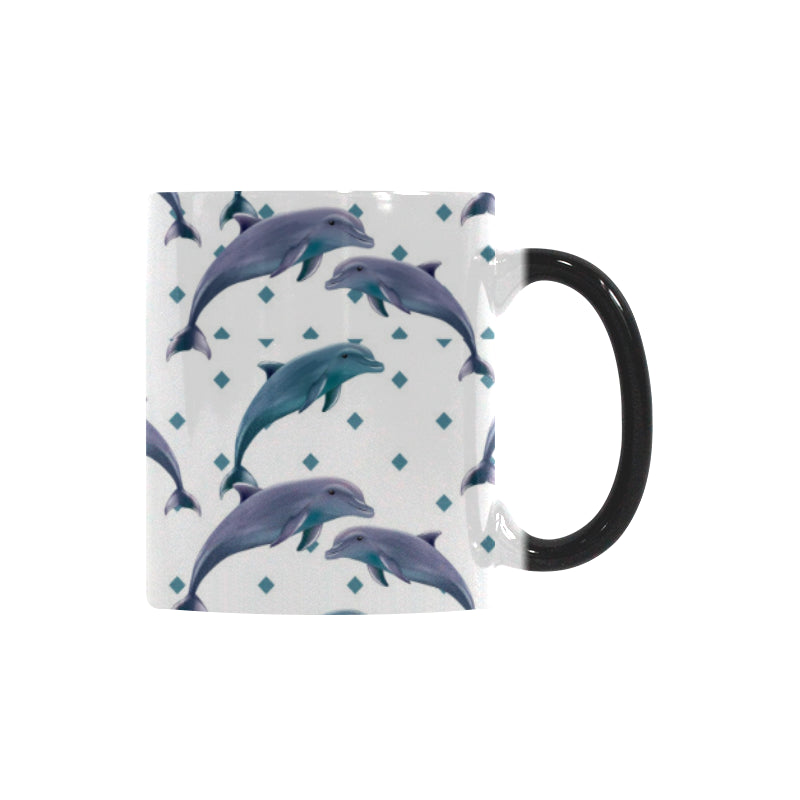 Dolphins pattern dotted background Morphing Mug Heat Changing Mug