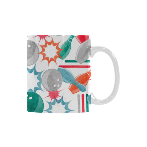 Watercolor bowling pattern Classical White Mug (Fulfilled In US)