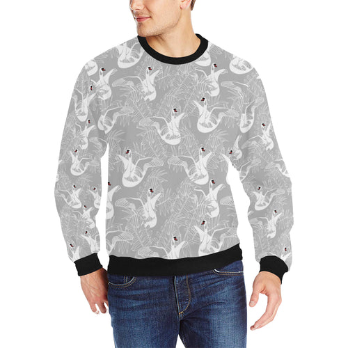 white swan gray background Men's Crew Neck Sweatshirt