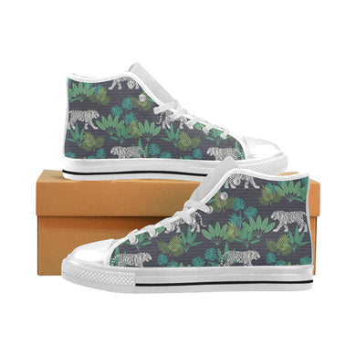 white bengal tigers tropical plant Men's High Top Canvas Shoes White