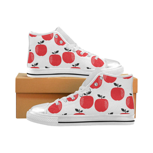 red apples white background Women's High Top Shoes White Made in USA