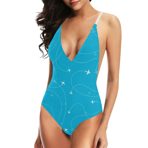 Airplane destinations blue background Women's One-Piece Swimsuit
