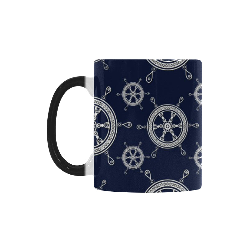 nautical steering wheel design pattern Morphing Mug Heat Changing Mug