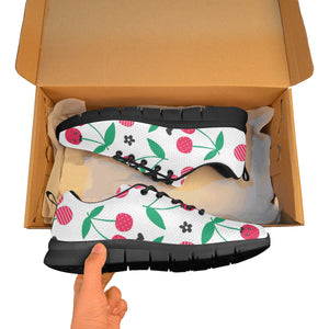 cherry pattern white background Men's Sneaker Shoes