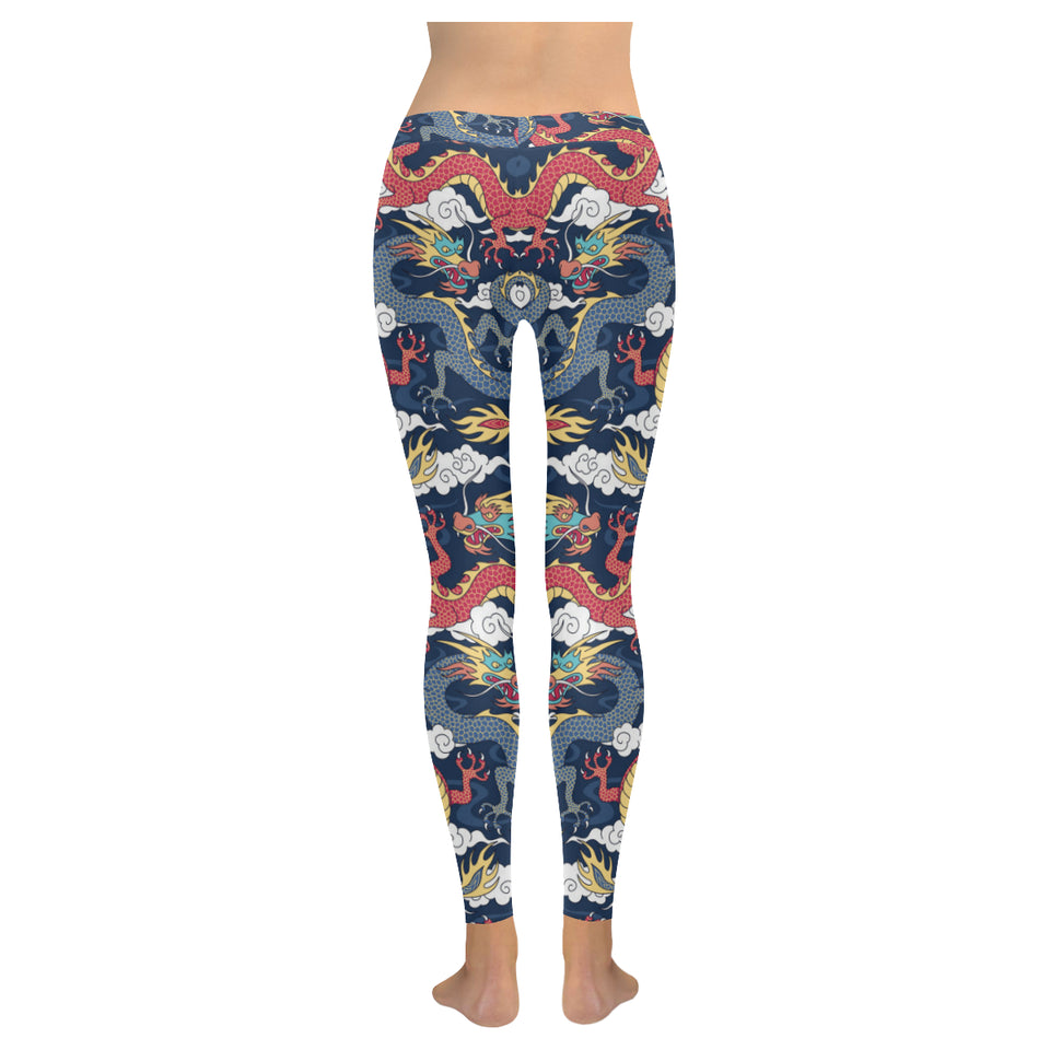 Blue red dragon cloud pattern Women's Legging Fulfilled In US