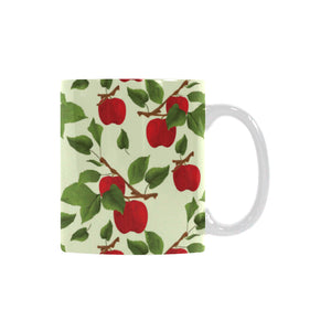 Red apples leaves pattern Classical White Mug (Fulfilled In US)