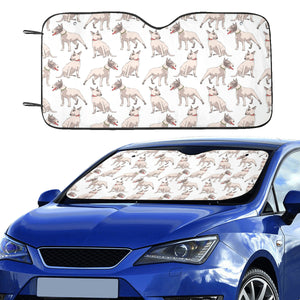 Bull Terrier Pattern Print Design 04 Car Sun Shade