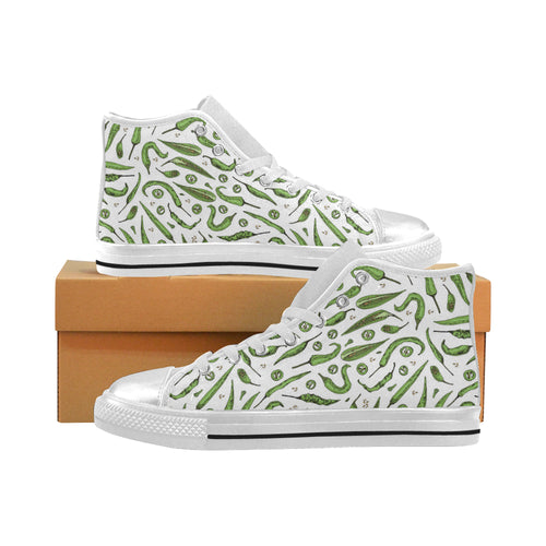 Hand drawn sketch style green Chili peppers patter Women's High Top Shoes White Made in USA