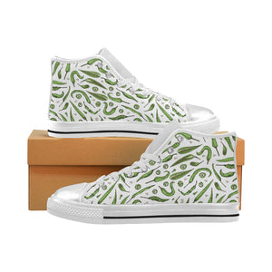 Hand drawn sketch style green Chili peppers patter Women's High Top Shoes White