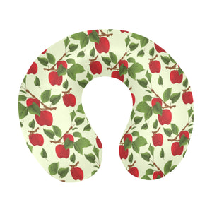 Red apples leaves pattern U-Shaped Travel Neck Pillow