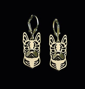 Boston Terrier Pendant Necklace And Earrings Silver/Gold Ccnc003 Dg0036
