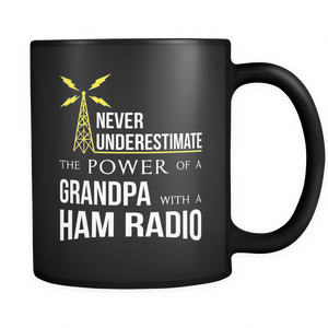 Black Mug-Never Underestimate The Power of a Grandpa With a Ham Radio ccnc001 hr0011