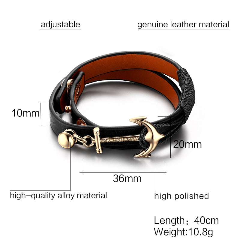 leather Anchor Bracelet For Men Guys Women  ccnc006 bt0152