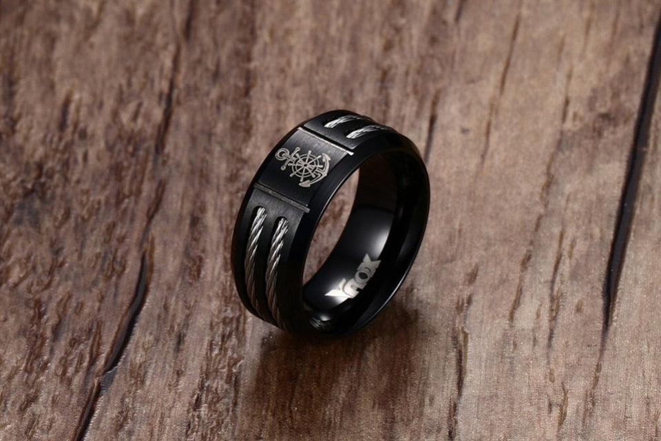 Mens Womens Anchor Ring Black Ccnc006 Bt0115