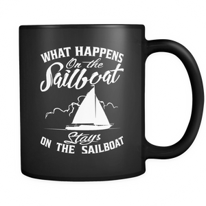 Black Mug-What Happens On The Sailboat Stays On The Sailboat ccnc007 sb0009