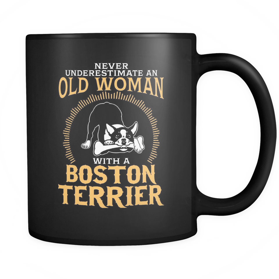 Black Mug-Never Underestimate an Old Woman With a Boston Terrier dg0046