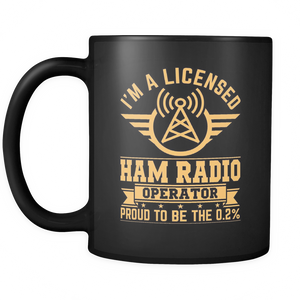 Black Mug-I'm A Licensed Ham Radio Operator Proud To Be The 0.2% ccnc001 hr0024