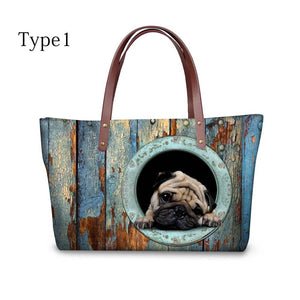 High Quality Women Handbags Cute Pug Pattern Ccnc003 Dg0024
