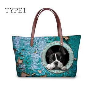 High Quality Women Handbags Cute Dog Boston Terrier Pattern Ccnc003 Dg0035