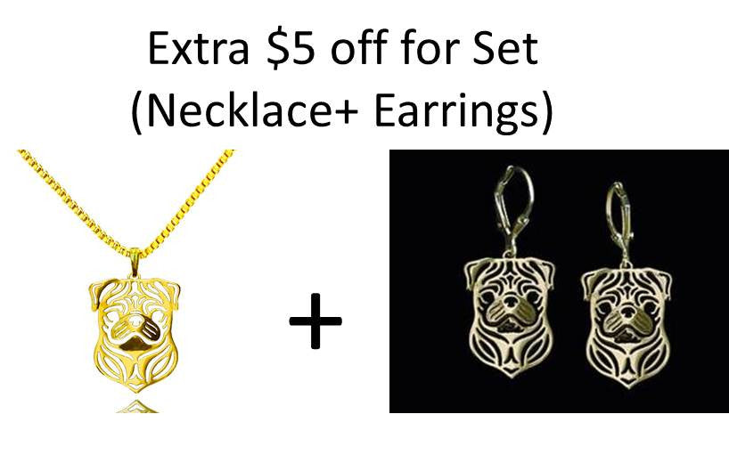 Pug Pendant Necklace and Earrings Silver/Gold ccnc003 dg0013