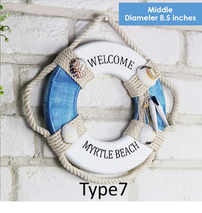 Mediterranean Decorative Wooden Life Buoy Figurines Blue Wall Hanging Nautical Sea Figure Home Decoration Ccnc006 Bt0211