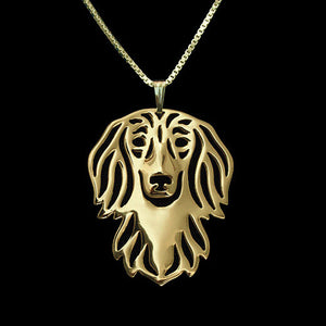 Long Haired Dachshund Pendant Necklace  Silver/Gold Ccnc003 Dg0011
