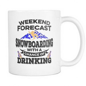 White Mug-Weekend Forecast Snowboarding With a Chance of Drinking ccnc004 sw0006