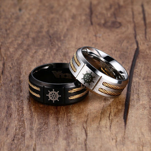 Mens Womens Rudder Anchor Ring Black Silver Ccnc006 Bt0116