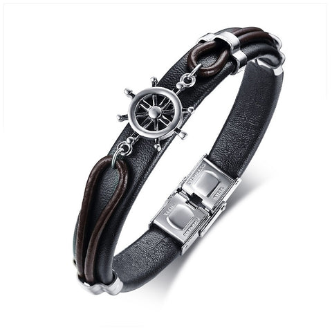 Leather Anchor Bracelet For Men Guys Women  ccnc006 bt0204