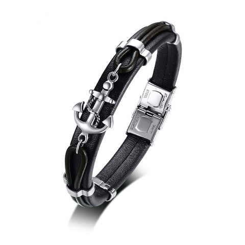 Leather Anchor Bracelet For Men Guys Women  ccnc006 bt0203
