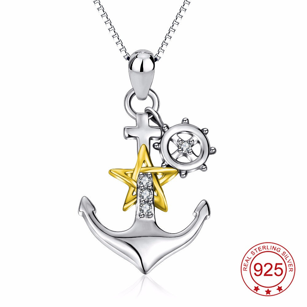 Anchor pendant necklace womens silver gold rose gold crystal cz anchor pendant necklace womens silver gold rose gold crystal cz pendants necklaces ccnc006 bt0121 aloadofball Image collections