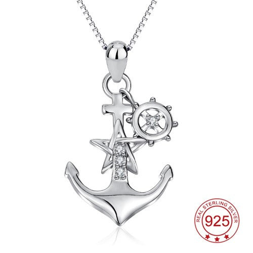 Anchor Pendant Necklace Womens Silver Gold Rose gold Crystal CZ Pendants & Necklaces ccnc006 bt0121