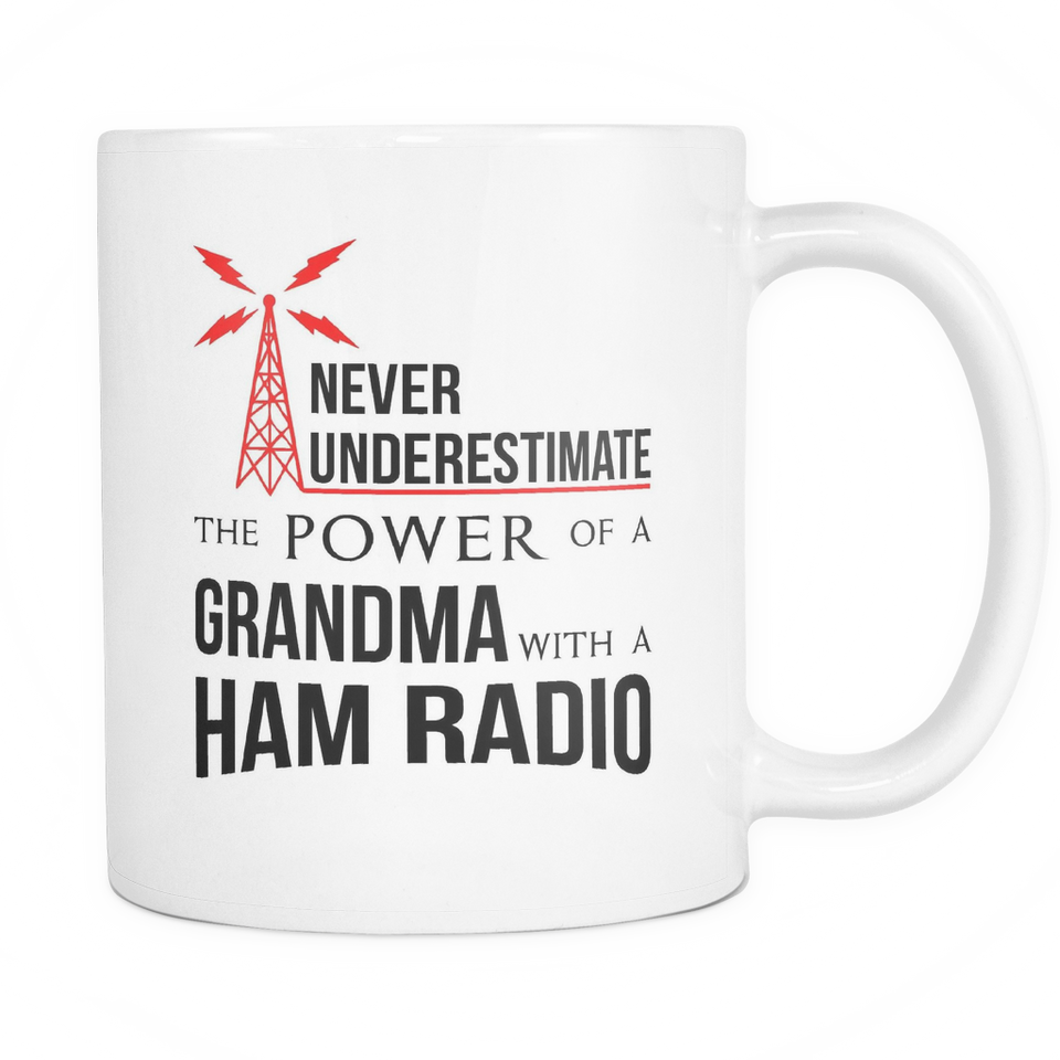White Mug-Never Underestimate The Power of a Grandma With a Ham Radio ccnc001 hr0012