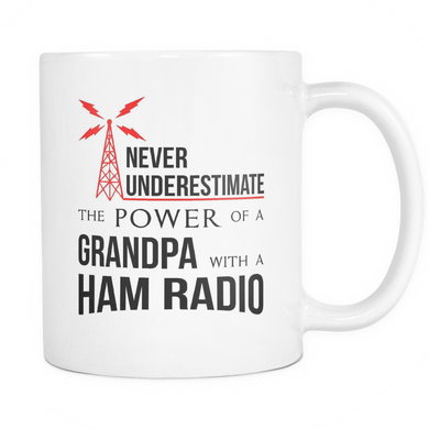 White Mug-Never Underestimate The Power of a Grandpa With a Ham Radio ccnc001 hr0011